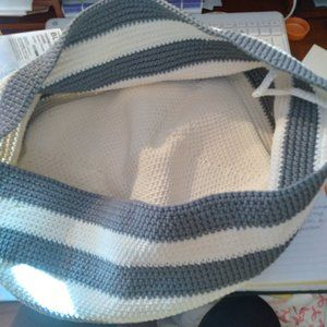 Gray and white striped crocheted catchall